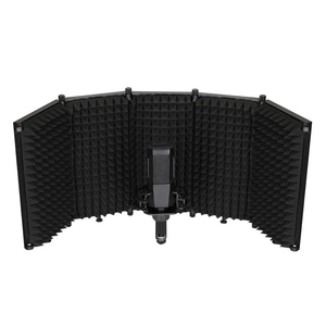 5 panel microphone isolation shield for desk or floor rack support use