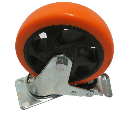 "3""/4""/5"" pvc double axis braked caster for flight case"